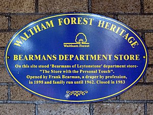 Bearmans - Blue plaque erected by Waltham Forest Council on 17th December 2012 at the site of Bearmans Department Store, 829-837 High Road, Leytonstone