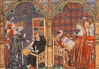 Vincent of Beauvais - Two royal visits to respectively the author and translator of Vincent's Mirror of History translated into French by Jean de Vignay as Le Miroir historial, c. 1333. At left Saint Louis visits Vincent.