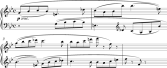 Canon (music) - Beethoven, canonic passage from the second movement of Piano Sonata Op. 101.