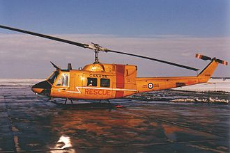 Ferry flying - A Canadian Forces CH-135 Twin Huey from Base Rescue Goose Bay delivered by a ferry crew to CFB Winnipeg for Depot Level Inspection and Repair at Bristol Aerospace in 1988.