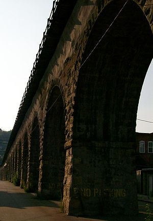B & O Railroad Viaduct - The Bellaire Viaduct at the intersection of 31st and Union Streets in Bellaire, Ohio.