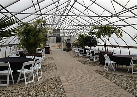 Formerly used for growing plants for a garden center, this greenhouse is now used for hosting special events.