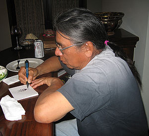 Absentee-Shawnee Tribe of Indians - Absentee Shawnee enrolled member, artist Benjamin Harjo, Jr. sketching