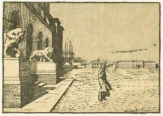 Lobanov-Rostovsky Palace - The palace's Medici lions, illustrated by Alexandre Benois around 1900.