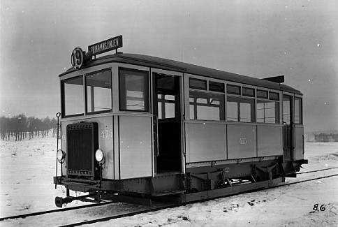 Bensinmotorvagn. Trafikerade linjen 19, Karlaplan - Frihamnen 1924 - 1929