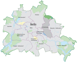 localisation du 11 e arrondissement sur une carte de berlin. Black Bedroom Furniture Sets. Home Design Ideas