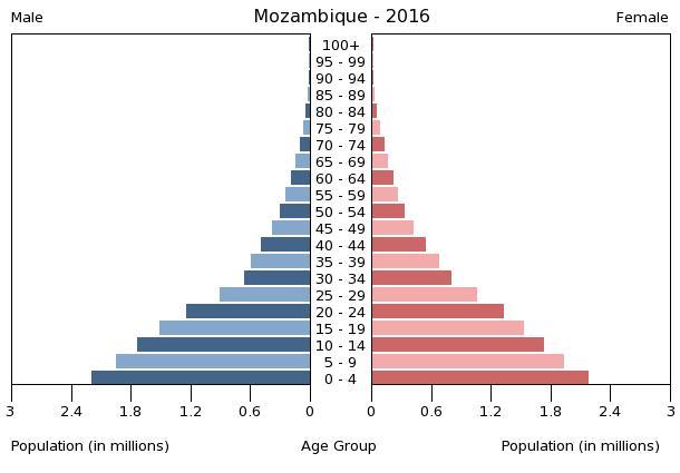 Bevölkerungspyramide Mosambik 2016