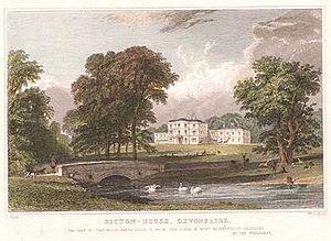 Bicton House, Devon - W. le Petit, Bicton House, Devonshire, c. 1830, engraving of a drawing by T. Allom.
