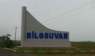 Bilasuvar District - Road sign at the entrance to Bilasuvar Rayon