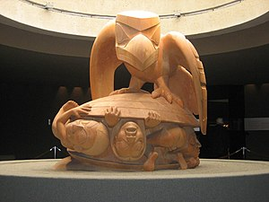 Haida mythology - Bill Reid's sculpture The Raven and The First Men, showing Raven releasing humans from a cockle shell. Museum of Anthropology at the University of British Columbia.