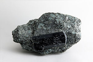 Tourmaline - Black dravite on a grey matrix