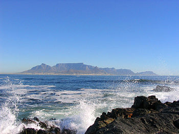 A view of Cape Town and Table Mountain from Robben Island