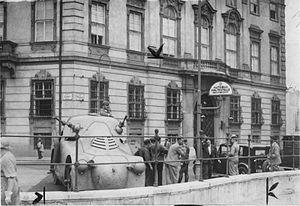 July Putsch - Police armored car at Ballhausplatz