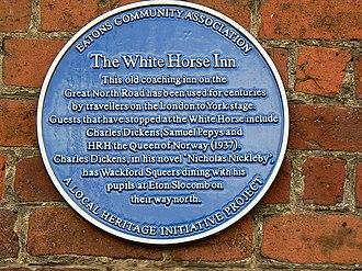 Eaton Socon - The blue plaque on the White Horse Inn