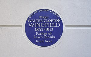 Walter Clopton Wingfield - Blue plaque with the inscription; 'Major Walter Clopton Wingfield' (1833-1912) Father of lawn tennis lived here, 33 St George's Square, Pimlico, London