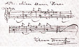 The Blue Danube - The first few bars of The Blue Danube waltz, signed by the composer