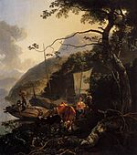 Boatmen Moored on a Lake Shore 1668 Adam Pynacker.jpg