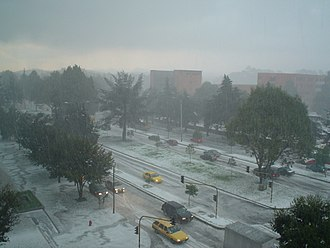 Climate of Colombia - An uncommon hailstorm in Bogotá on March 3, 2006 product of a combination of altitude (low temperature at an altitude of 2640 meters above sea level) and precipitation.