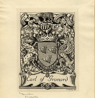Earl of Granard - Bookplate  by Henry Badeley showing the coat of arms and motto of the Earl of Granard