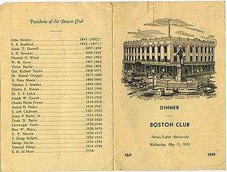 The Boston Club - Boston Club Dinner Menu
