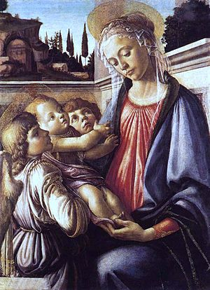 Madonna and Child and Two Angels (Botticelli) - Image: Botticelli Madonna and Child and Two Angels (c. 1470)