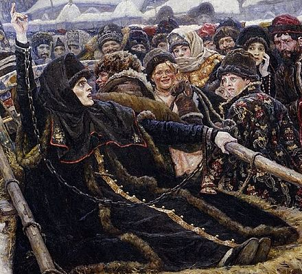 Detail of the painting Boyarynya Morozova by Vasily Surikov depicting a defiant Old Believer holding up two fingers (instead of three) during her arrest Boyaryna Morozova by V.Surikov (1884-1887, Tretyakov gallery) detail 01.jpg