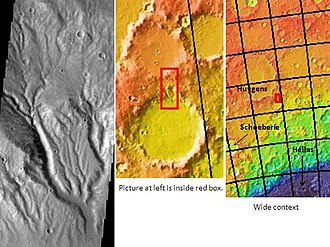 Huygens (crater) - Image: Branched valleys in Huygens