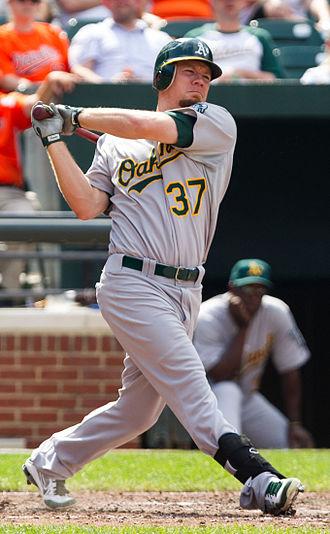 Brandon Moss - Moss batting for the Oakland Athletics in 2012