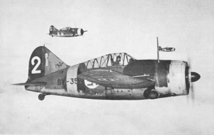 A Finnish Air Force Brewster B-239 formation during the Continuation War Brewster 239 formation.png