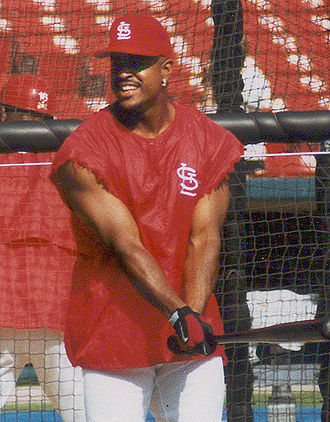 Brian Jordan - Batting practice with the Cardinals.