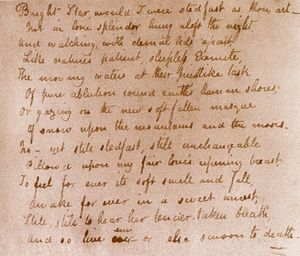 Bright star, would I were steadfast as thou art -  Text transcribed by Keats into a volume of Shakespeare in late September 1820.