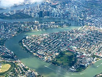 Brisbane central business district - Aerial view of the central business district (top) from the east.