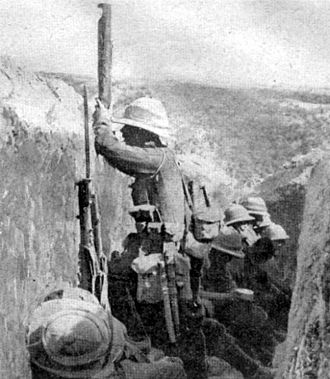 British Army uniform and equipment in World War I - British troops at Gallipoli wearing 1908 pattern webbing and Pith helmets.
