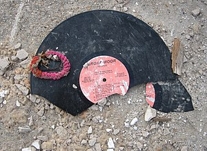 Broadmoor Records - A broken Broadmoor record in debris in the formerly flooded Broadmoor neighborhood after Hurricane Katrina.