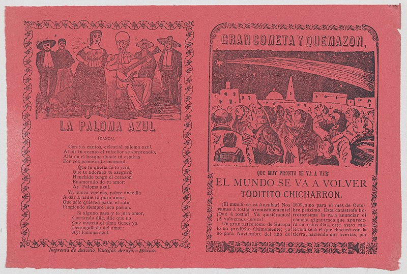 File:Broadsheet relating to the apparition of a comet in Mexico in November 1899, and the words to a song 'La Paloma Azul' MET DP868005.jpg