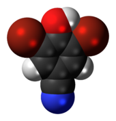 Space-filling model of the bromoxynil molecule