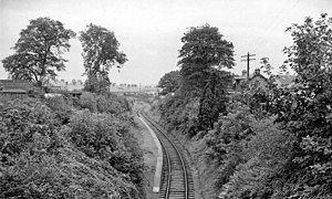 Esk Valley Railway (Scotland) - Remains of Broomieknowe station photographed in 1962.