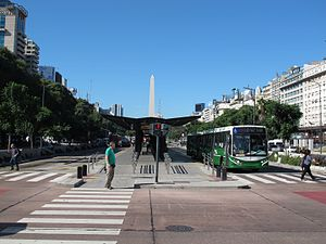 Transport in Argentina - A Metrobus 9 de Julio station in central Buenos Aires.