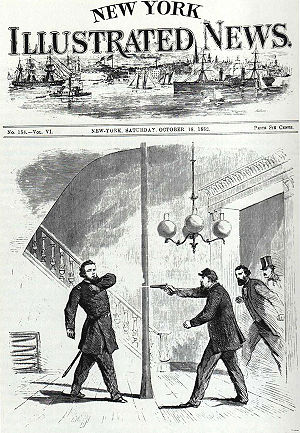 "Galt House - Union Gen. Jefferson C. Davis shoots Union Gen. William ""Bull"" Nelson at the Galt House in 1862"