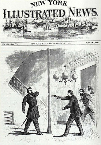 "William ""Bull"" Nelson - Fanciful depiction of General William ""Bull"" Nelson being shot by fellow Union General Jefferson C. Davis at the Galt House in Louisville, Kentucky on September 27, 1862"