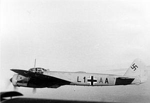 """Stab (Luftwaffe designation) - A Ju 88A of LG 1's Geschwader Stab flight. bearing a green """"A"""" as the third letter per Luftwaffe regulation."""