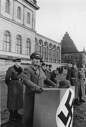Karl Hanke - Gauleiter Hanke addresses a new battalion of Volkssturm in Breslau (today Wrocław, Poland), February 1945