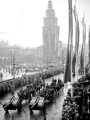 8 cm kanon vz. 30 - Parade of SS troops in Krakow, October 1940