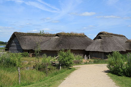 Reconstructed town houses from Haithabu (now in Germany) Busdorf - Haithabu - Wikinger-Hauser 05 ies.jpg