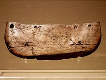 Butterfly-shaped ivory vessel with the pattern of two birds facing the sun(Neolithic) in Zhejiang Museum.JPG