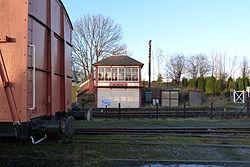 Butterley railway station, Derbyshire, England -signal box-19Jan2014 (2).jpg