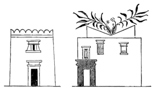 Dwelling house in Ancient Egypt with windcatcher. From a painting