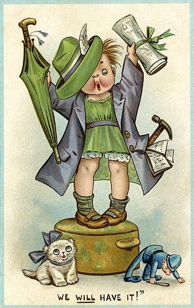 File:C.1910TWL.2000.52Postcard, printed, cardboard, polychrome image, black text, blue border, white background, cartoon image of a female child dresses as a suffragette, umbrella in one hand and a copy of (23096658565).jpg