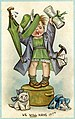 C.1910TWL.2000.52Postcard, printed, cardboard, polychrome image, black text, blue border, white background, cartoon image of a female child dresses as a suffragette, umbrella in one hand and a copy of (23096658565).jpg