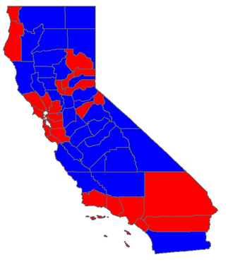 United States presidential election in California, 1896 - Map of presidential election results by county in California in the 1896 presidential election